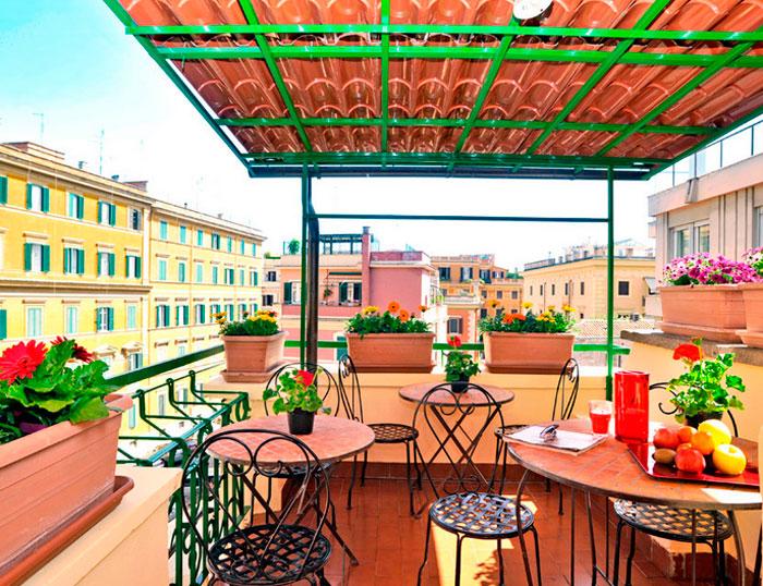 La terraza colorida y sus vistas